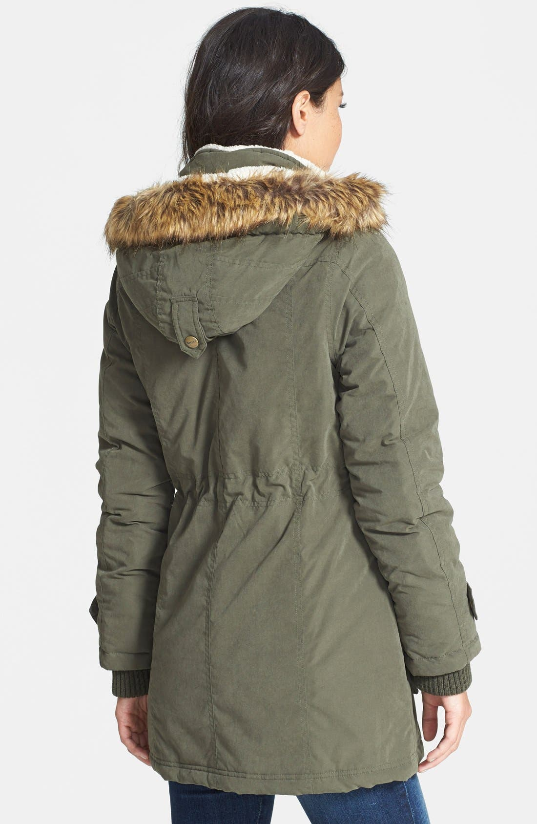 Alternate Image 3  - DKNY Faux Fur Trim Anorak (Regular & Petite)