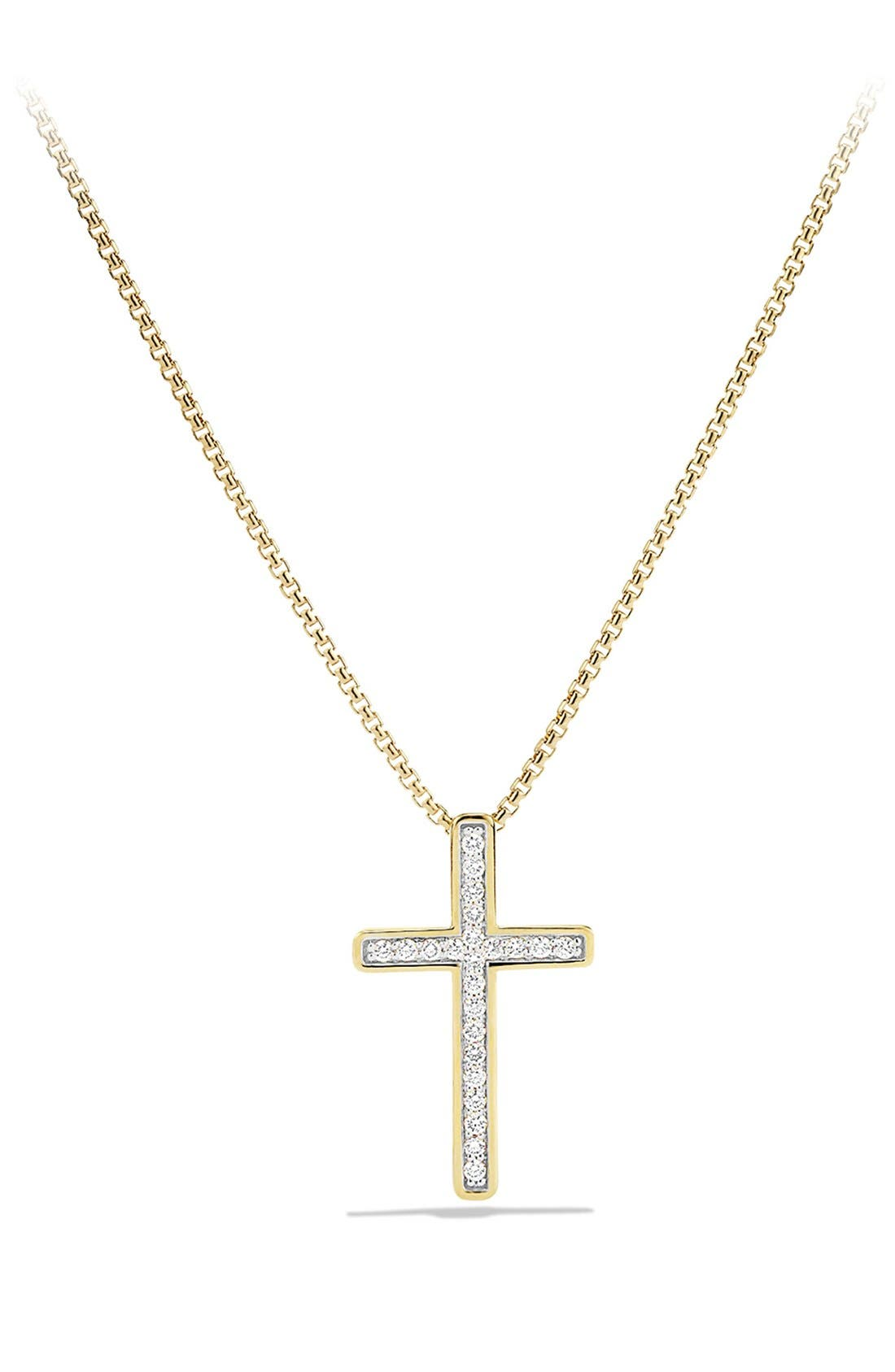 Alternate Image 1 Selected - David Yurman 'X' Petite Pavé Cross Necklace with Diamonds in Gold