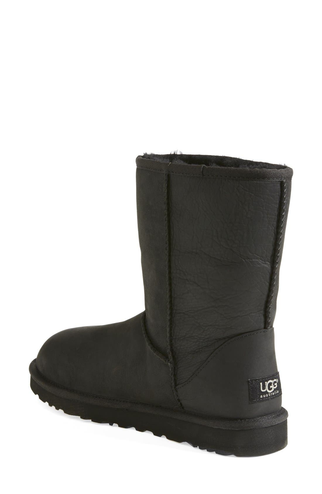 Alternate Image 2  - UGG® 'Classic Short' Leather Water Resistant Boot (Women)