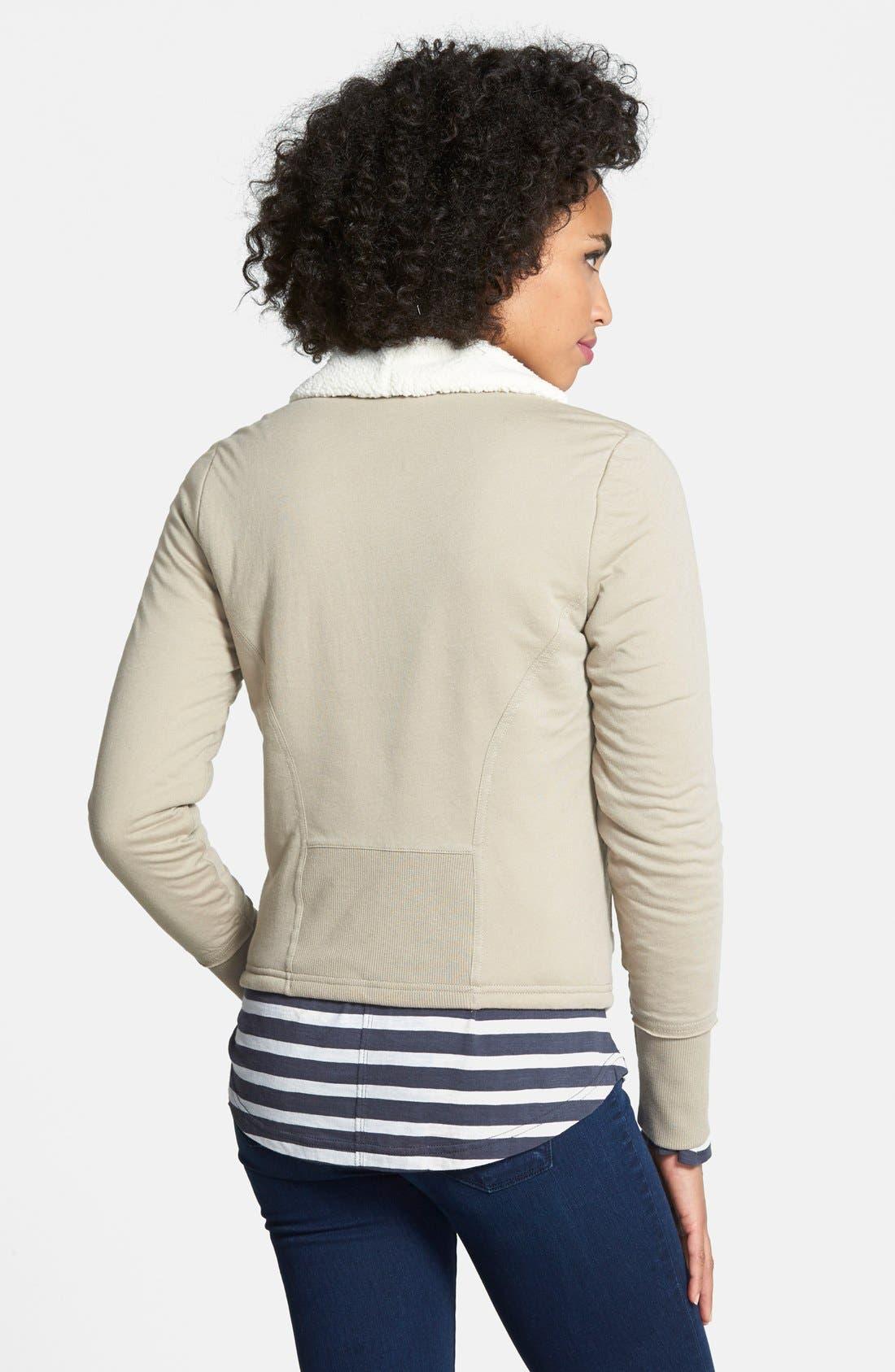 Alternate Image 2  - Caslon® Faux Shearling Lined Moto Jacket (Regular & Petite)