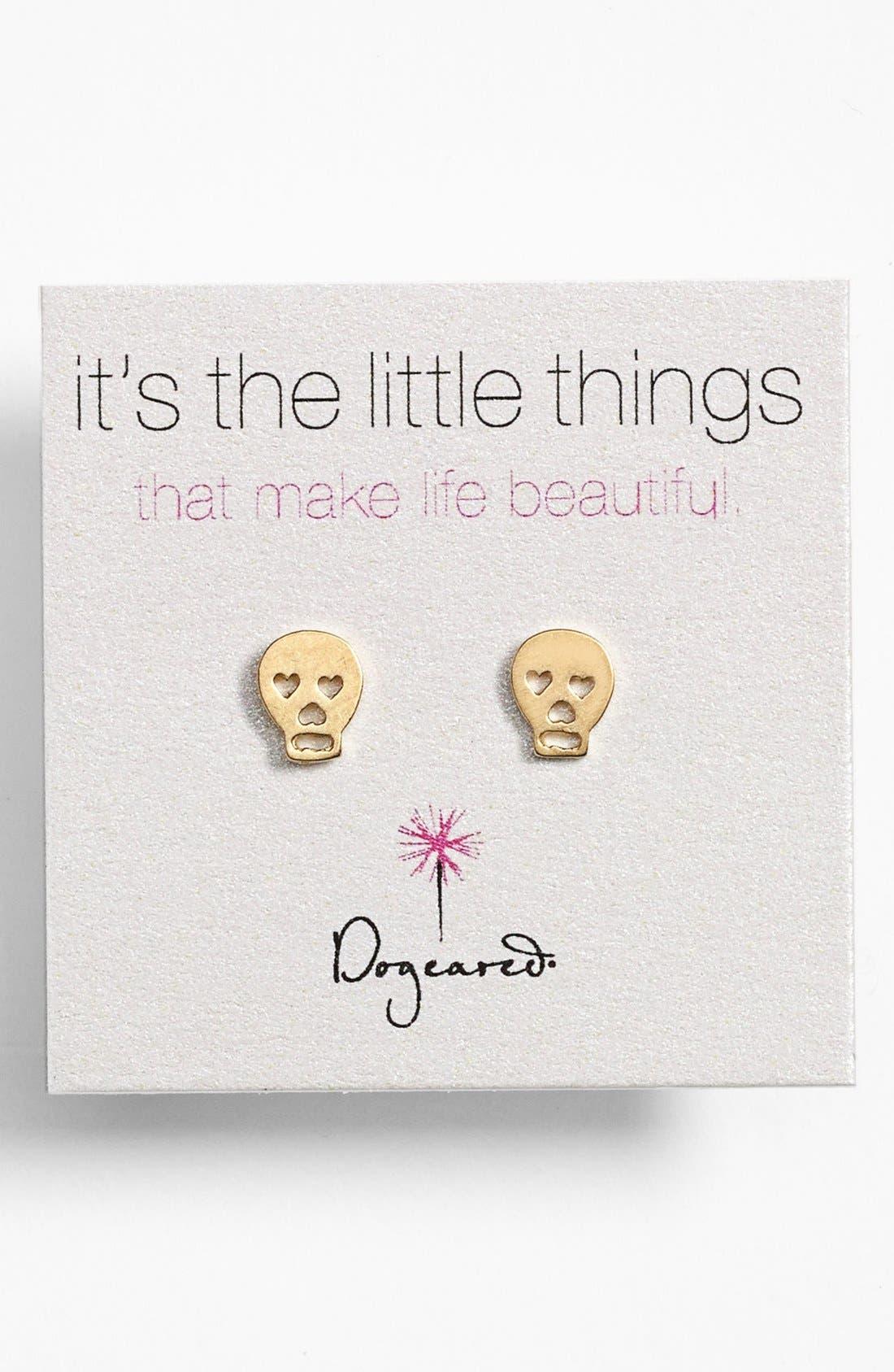 Main Image - Dogeared 'It's the Little Things' Skull Stud Earrings