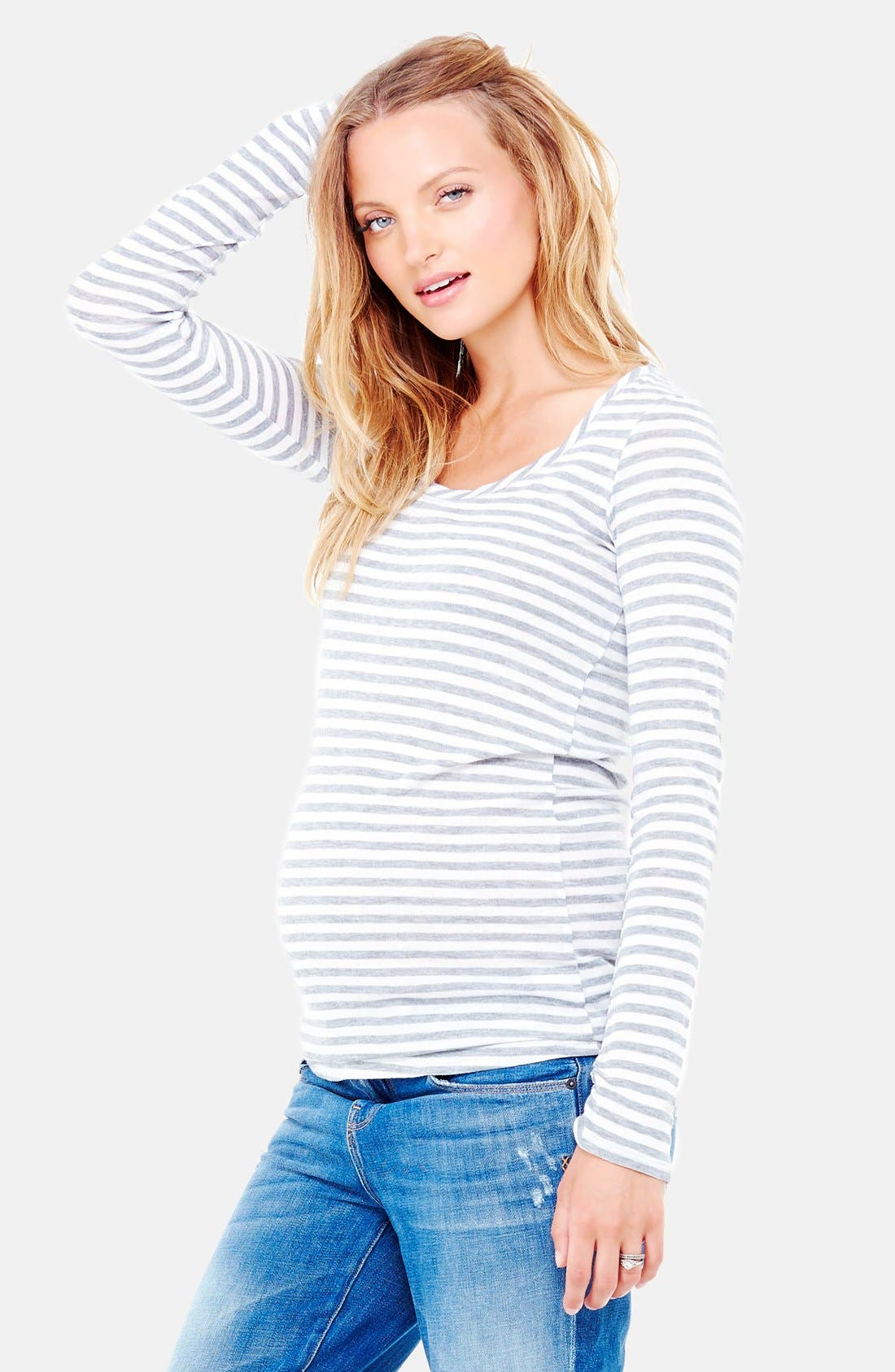 Ingrid & Isabel® Stripe Scoop Neck Maternity Tee