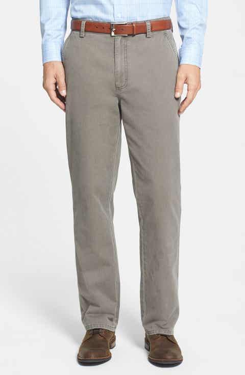 Cutter   Buck 'Curtis' Flat Front Five-Pocket Cotton Twill Pants (Big   Tall)