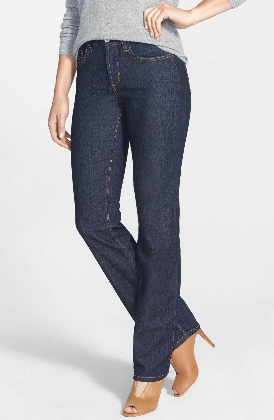 Alternate Image 1 Selected - NYDJ 'Marilyn' Stretch Straight Leg Jeans (Dark Enzyme) (Regular & Petite)