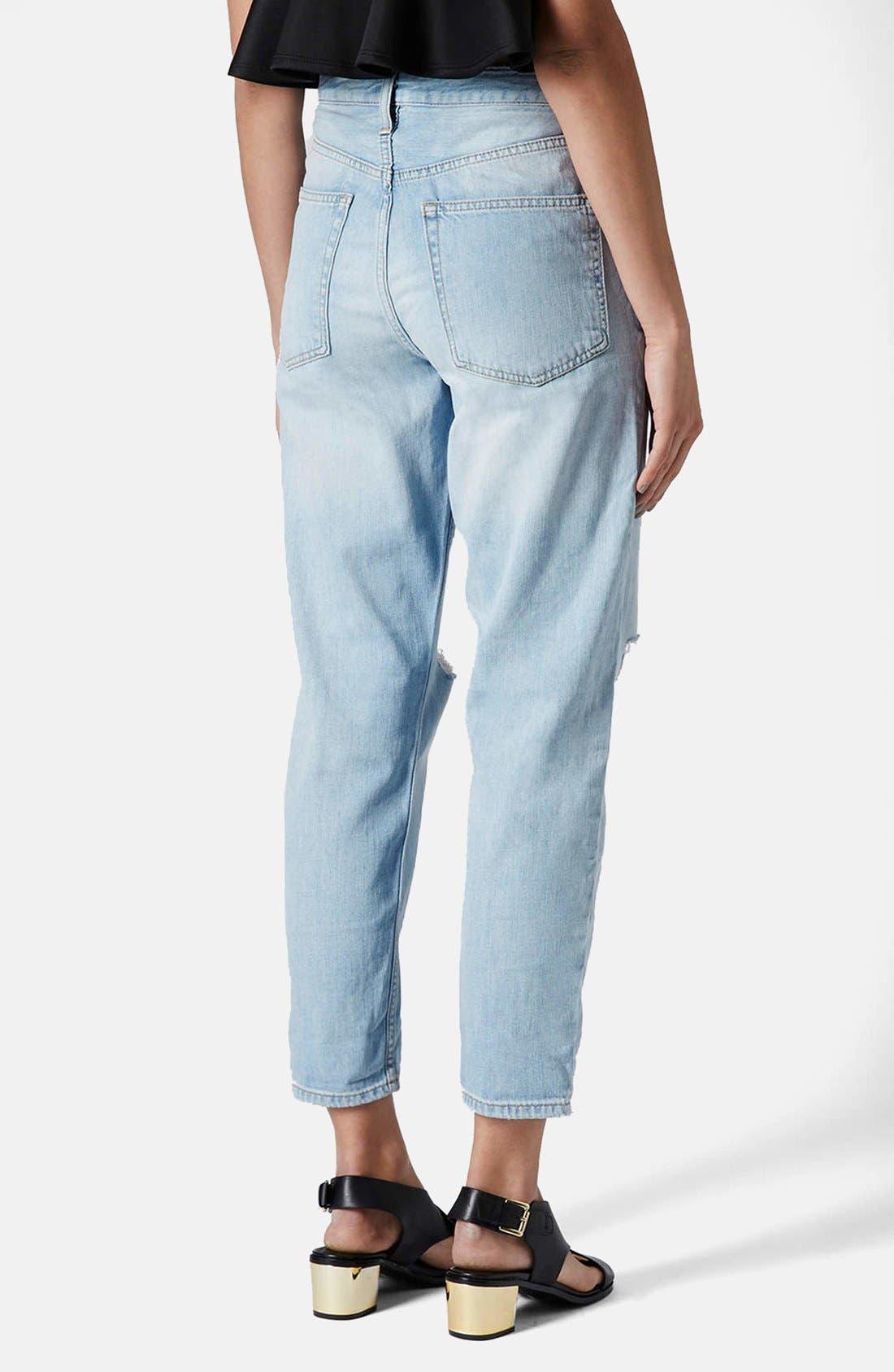 Alternate Image 2  - Topshop Moto 'Hayden' Frayed Boyfriend Jeans (Bleach Stone)