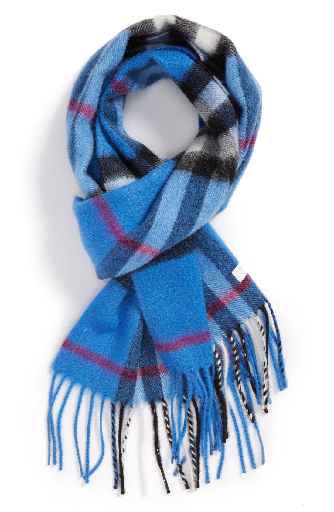 Main Image - Burberry 'Scotland' Check Cashmere Scarf (Girls)