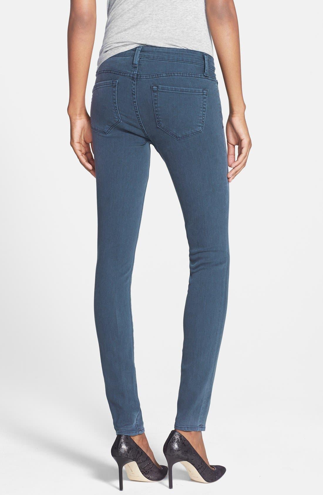 Alternate Image 2  - Velvet by Graham & Spencer Low Rise Skinny Jeans (Petrol)