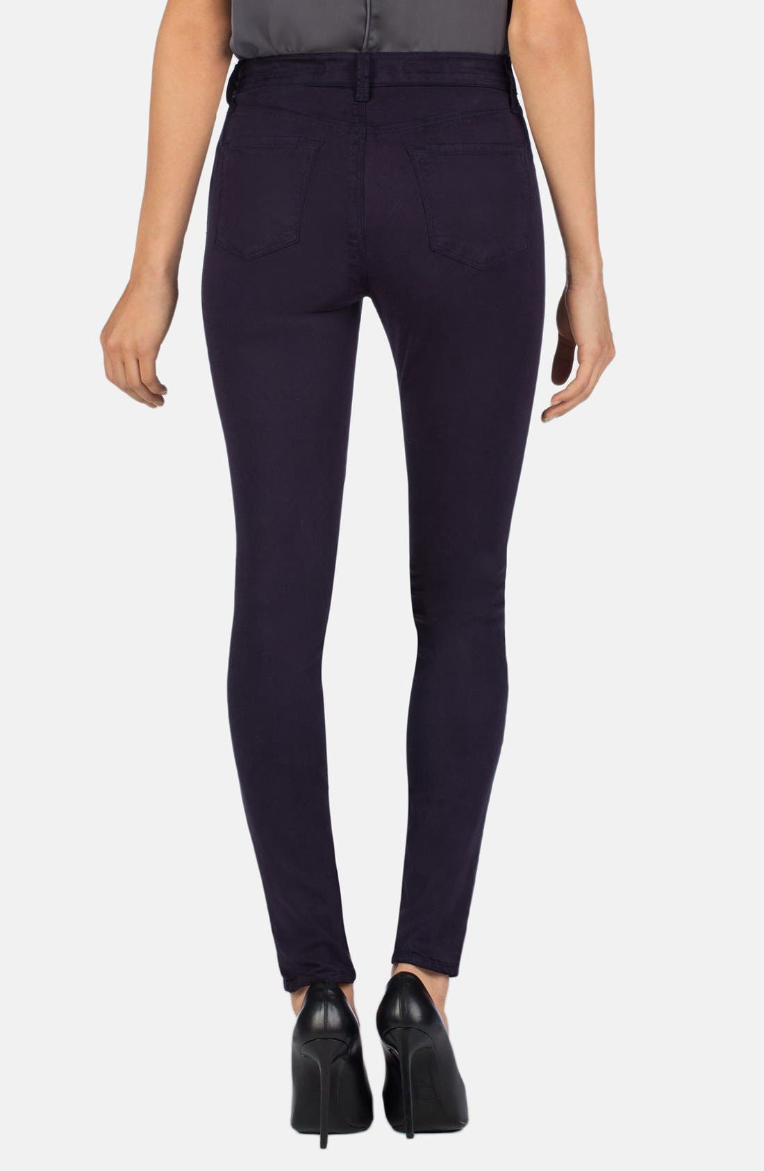 Alternate Image 2  - J Brand '485' Mid Rise Super Skinny Jeans (Blackberry)