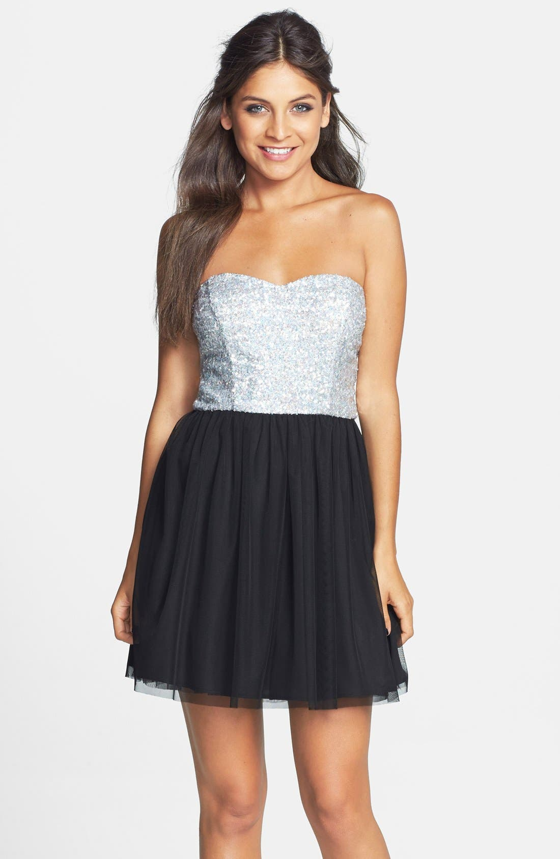 Main Image - Love, Nickie Lew Disco Sequin Fit & Flare Dress (Juniors)
