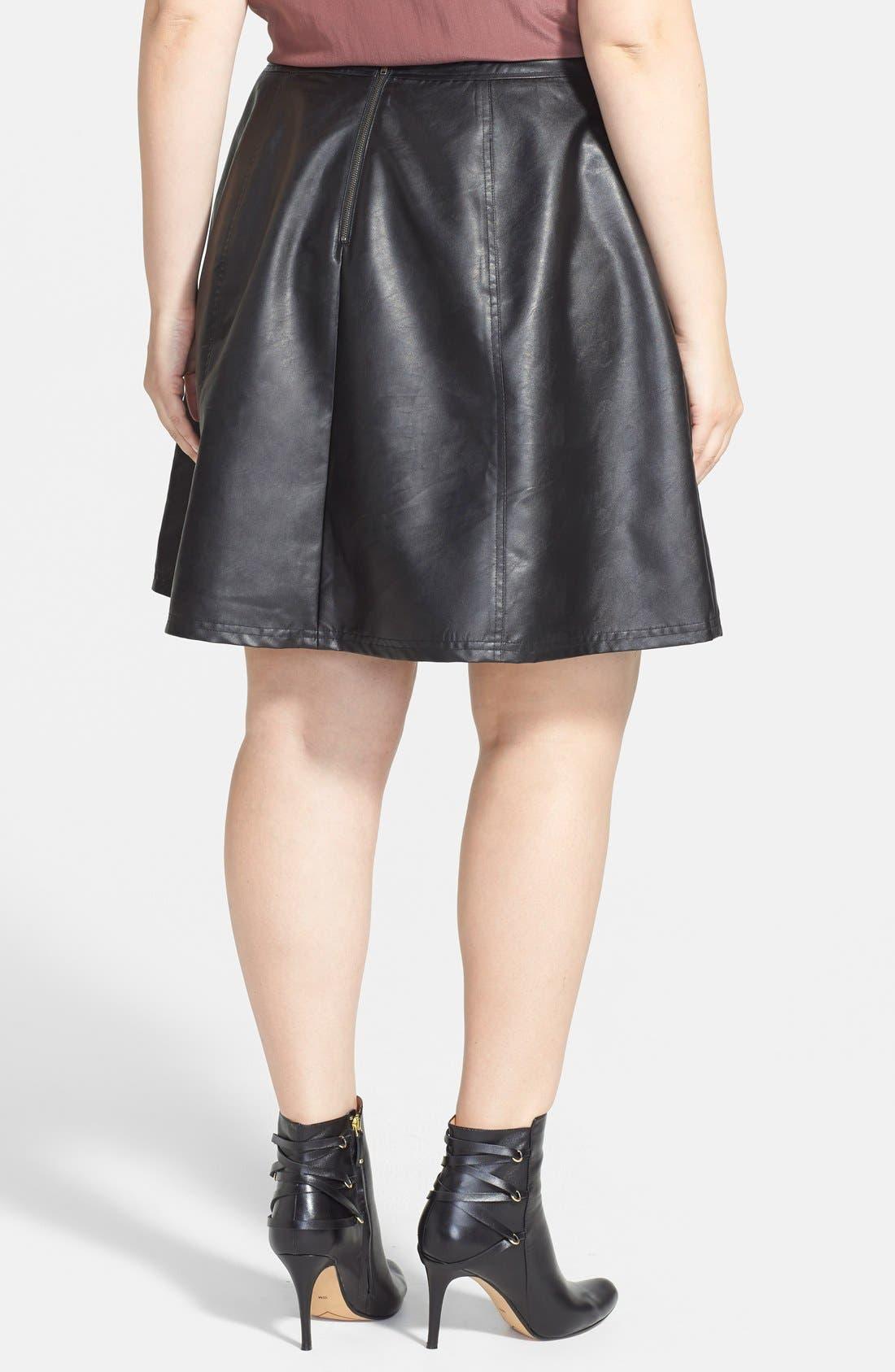 Alternate Image 2  - Halogen® Faux Leather Circle Skirt (Plus Size)