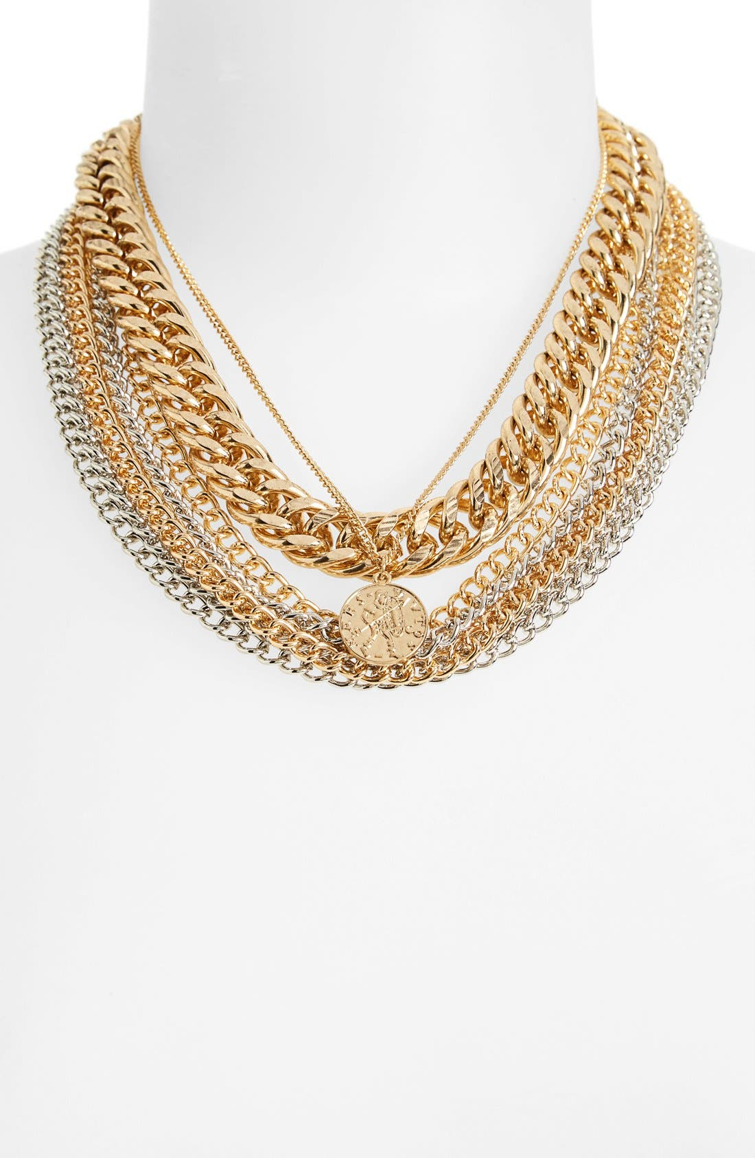 Alternate Image 1 Selected - Topshop Chunky Chain Multi Row Necklace