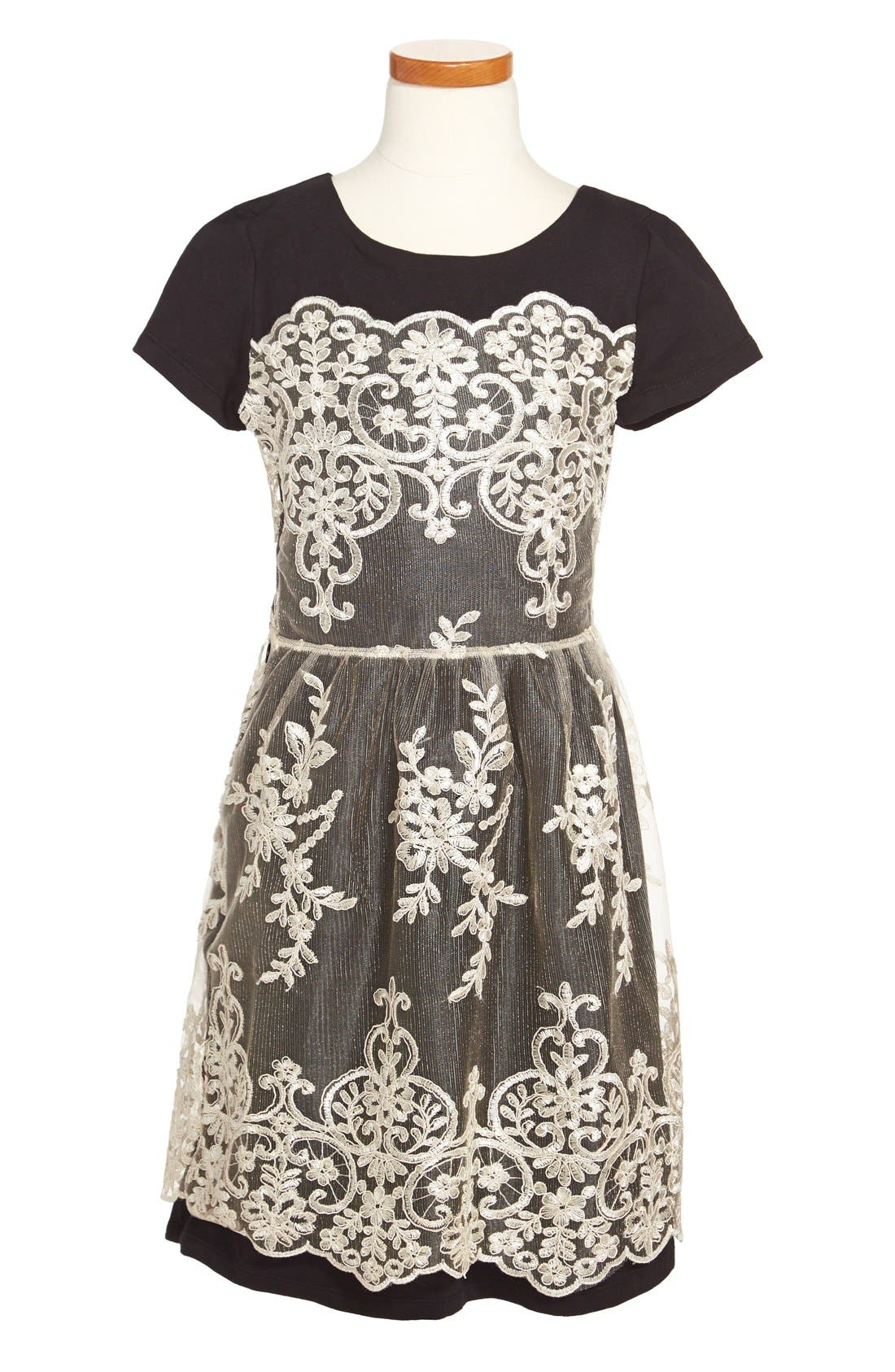 Alternate Image 1 Selected - Fiveloaves Twofish Jersey Knit Dress with Lace (Big Girls)