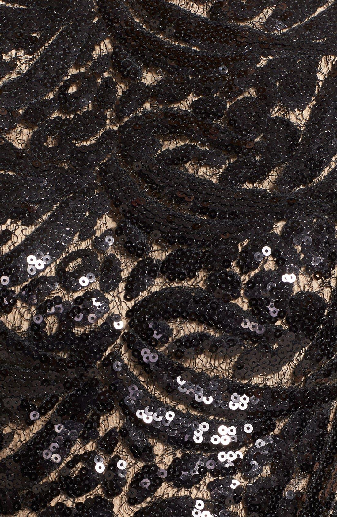 Alternate Image 4  - ML Monique Lhuillier Sequin Bodice Faille Fit & Flare Dress