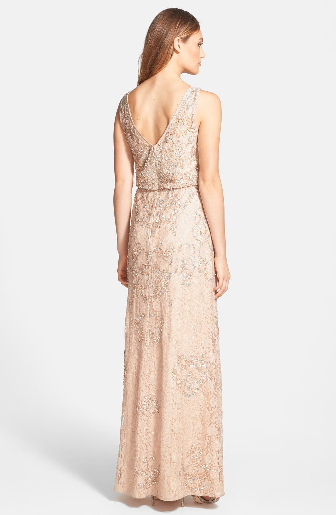 Alternate Image 2  - Aidan Mattox Embellished Lace Blouson Gown