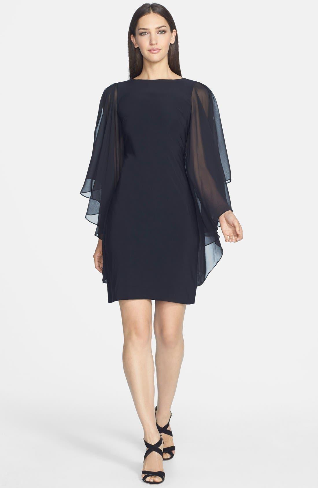 Alternate Image 3  - JS Boutique Chiffon Butterfly Sleeve Jersey Sheath Dress
