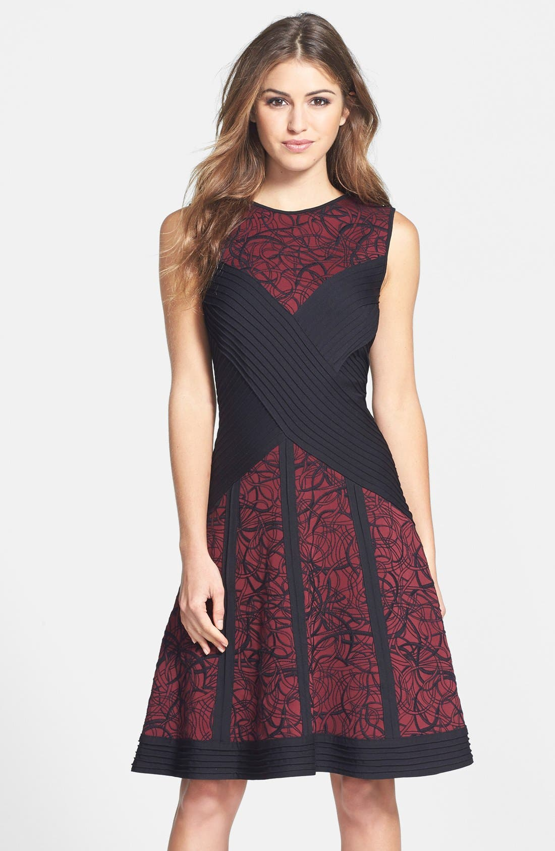Main Image - Tadashi Shoji Pintuck Embroidered Neoprene Fit & Flare Dress