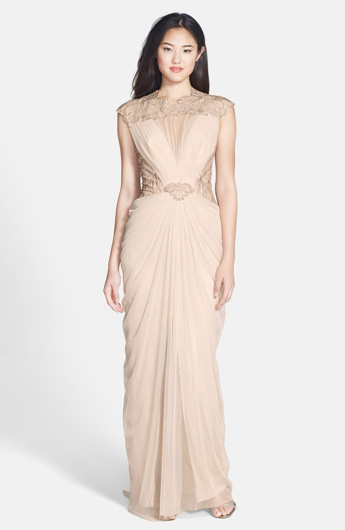 Alternate Image 1 Selected - Tadashi Shoji Embroidered Tulle Gown