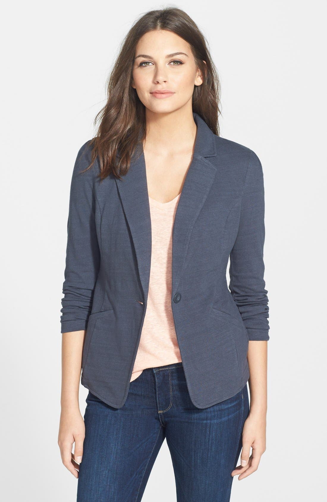Main Image - Caslon® Knit One-Button Blazer (Petite)