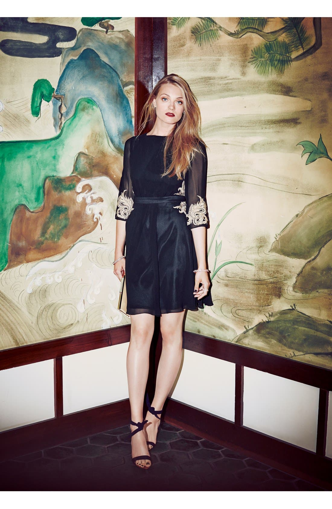 Alternate Image 4  - Ted Baker London 'Gaenor' Embroidered Fit & Flare Dress