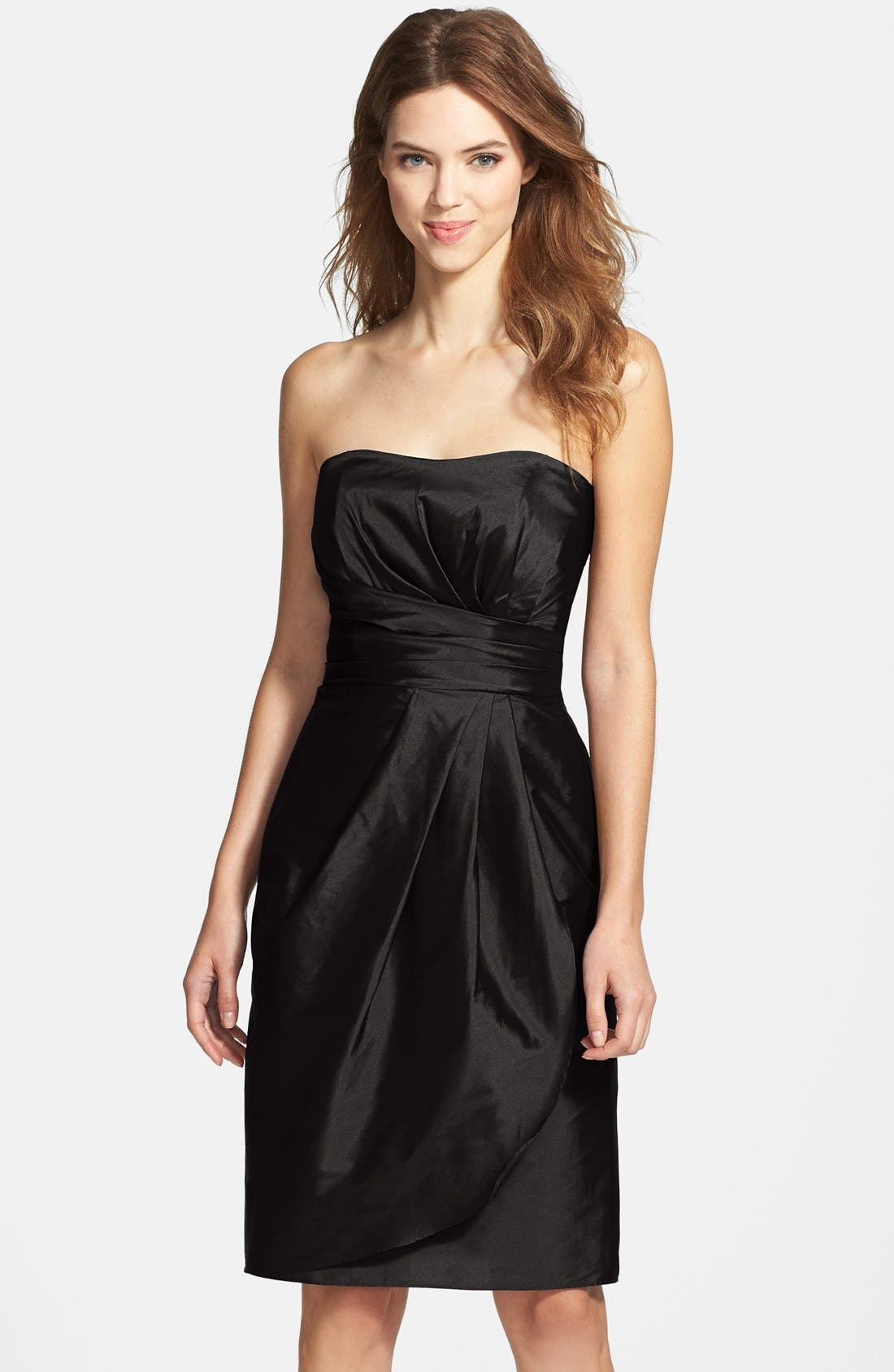 Alternate Image 1 Selected - Alfred Sung Wrapped Strapless Satin Dress