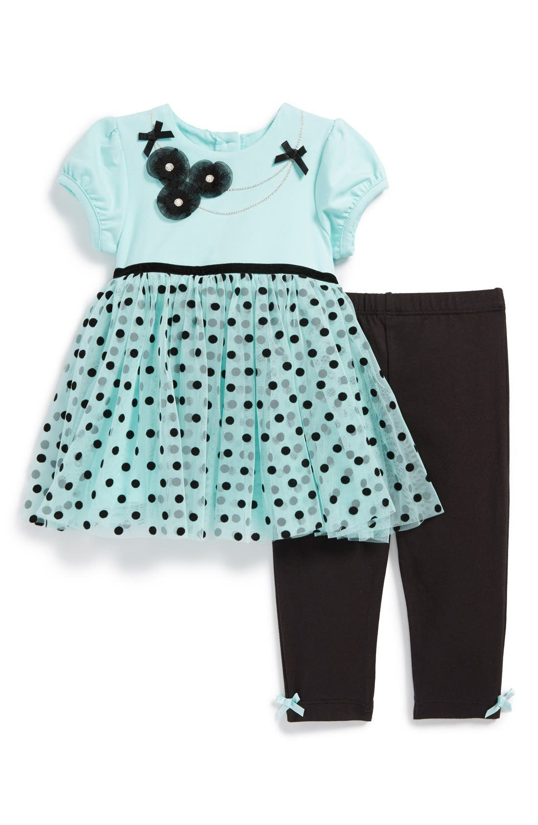 Main Image - Little Me Party Dress & Leggings (Baby Girls)