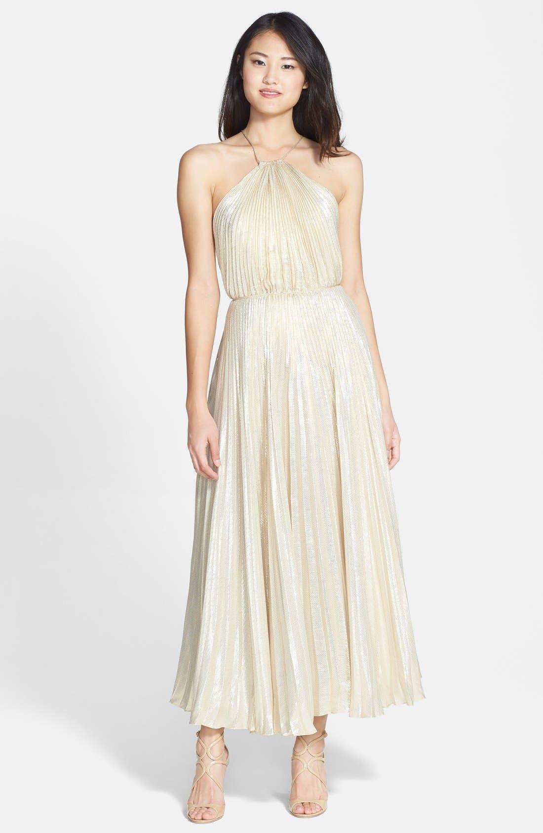 Main Image - Jill Jill Stuart Metallic Silk Blend Midi Dress