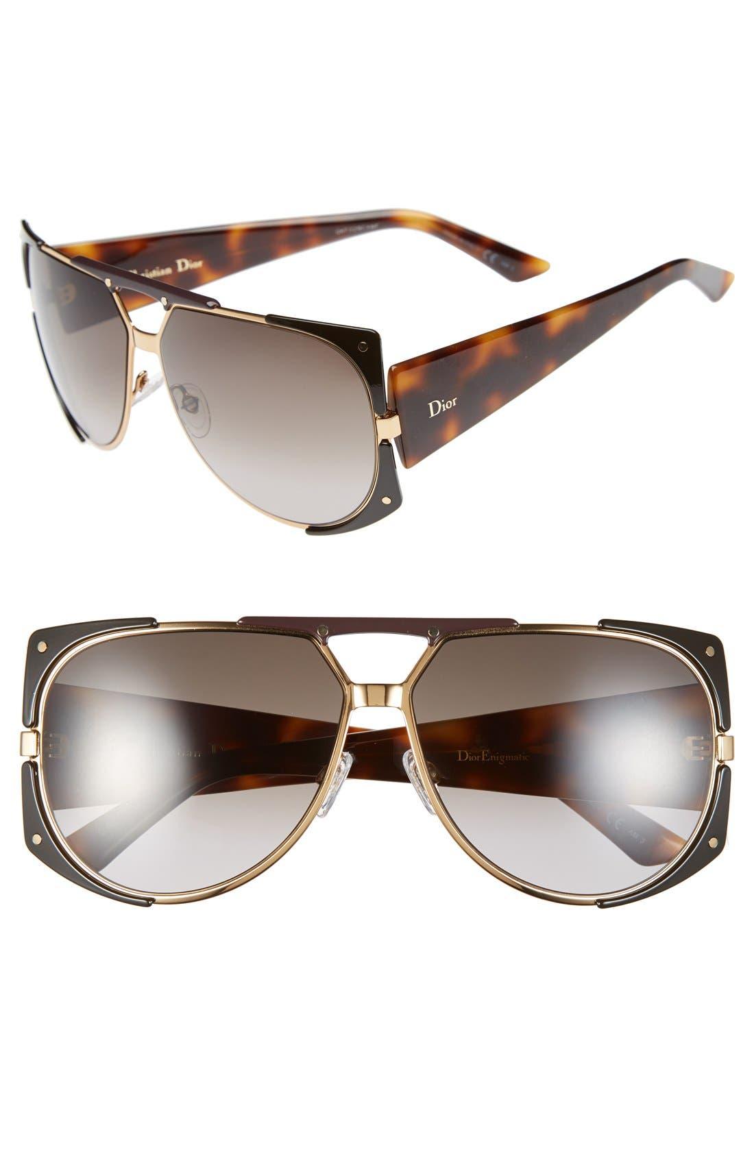 Main Image - Dior 62mm 'Enigmatic' Metal Shield Sunglasses