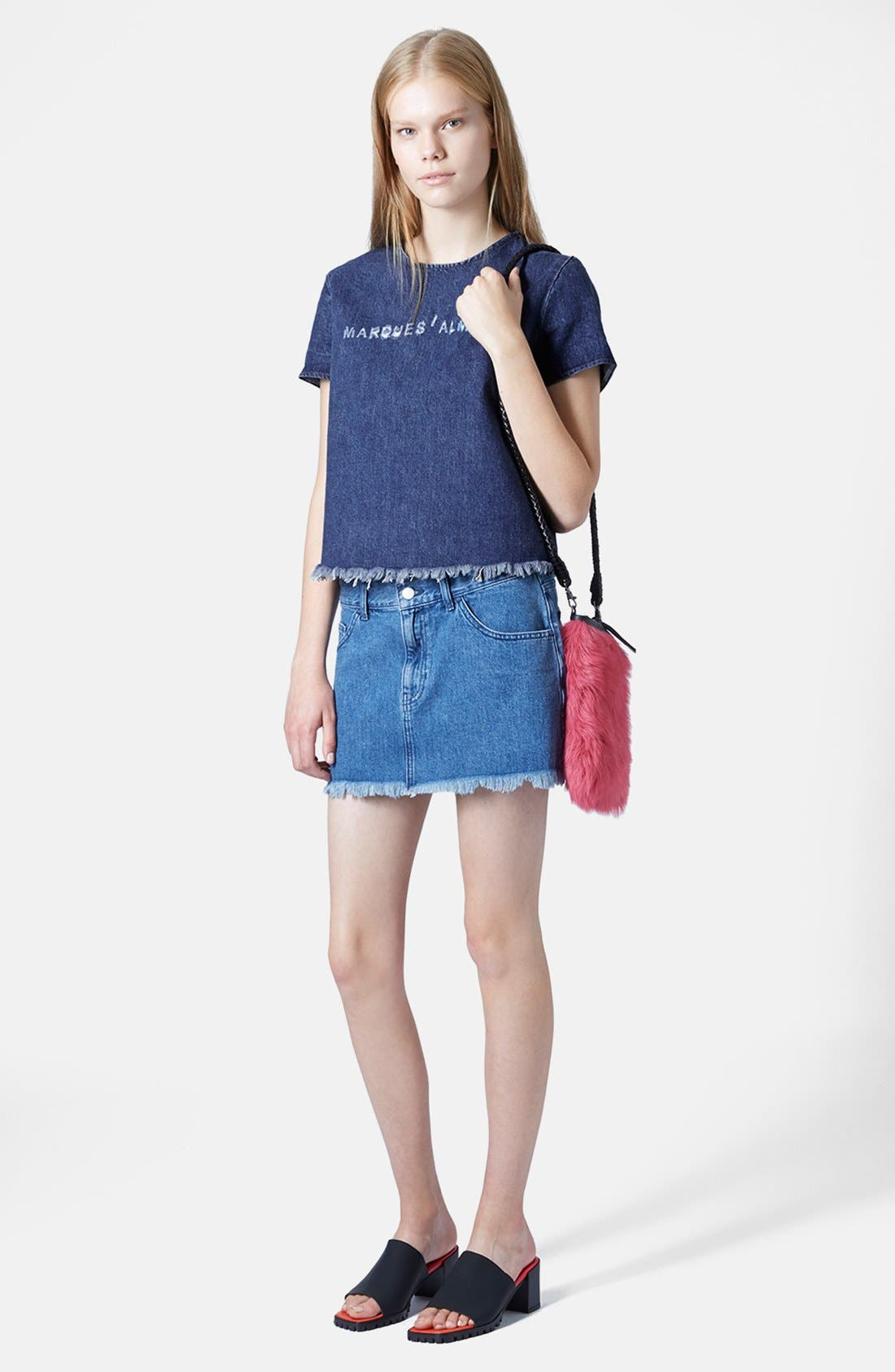 Alternate Image 5  - Marques'Almeida for Topshop Denim Miniskirt