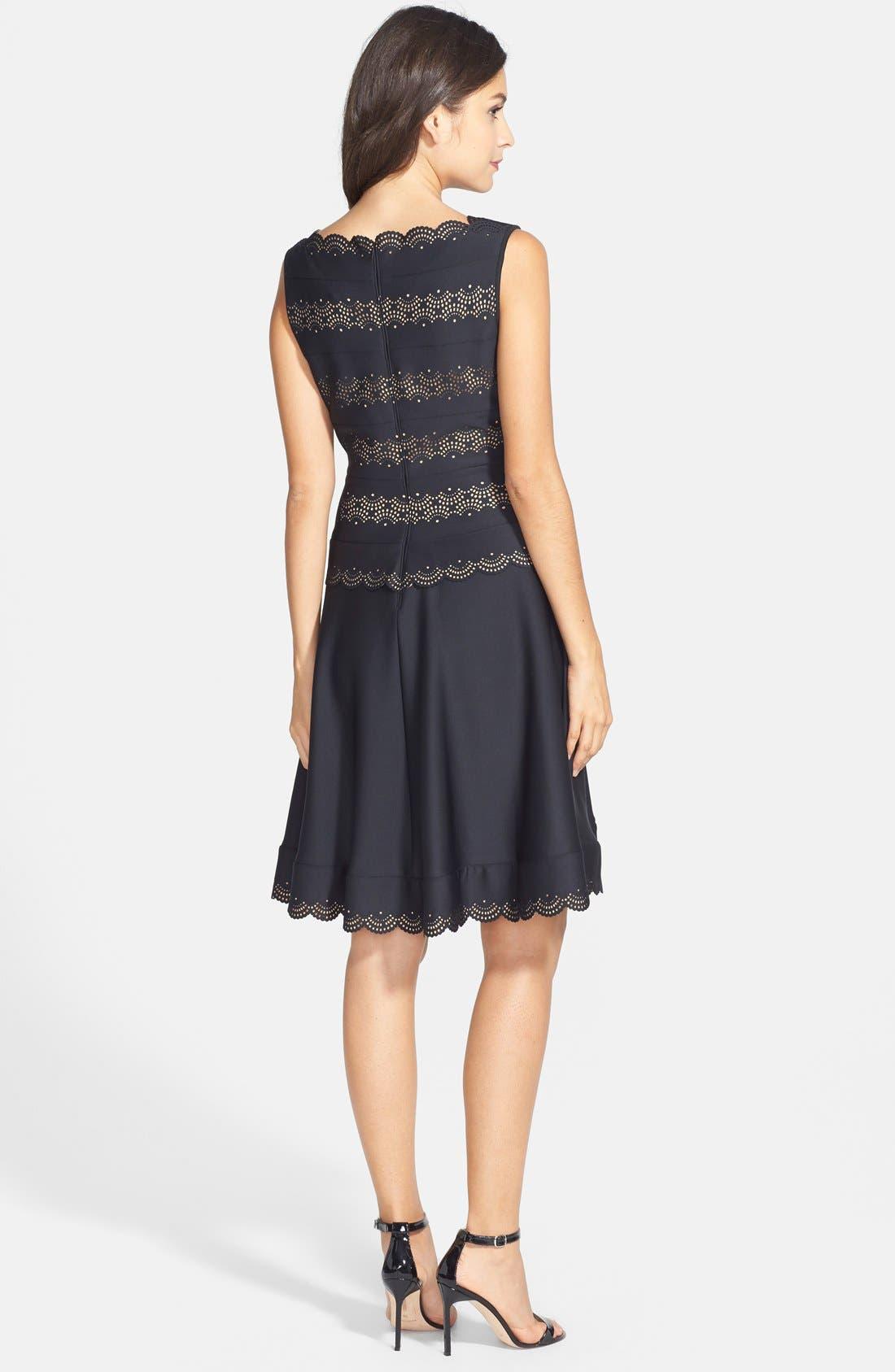 Alternate Image 2  - Tadashi Shoji Laser Cut Neoprene Fit & Flare Dress