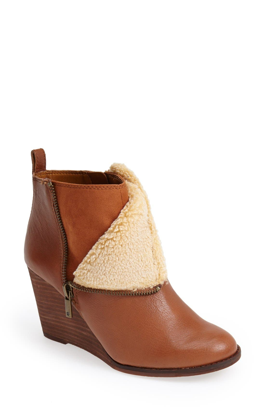 Alternate Image 1 Selected - Lucky Brand 'Yorque' Wedge Leather Bootie (Women)