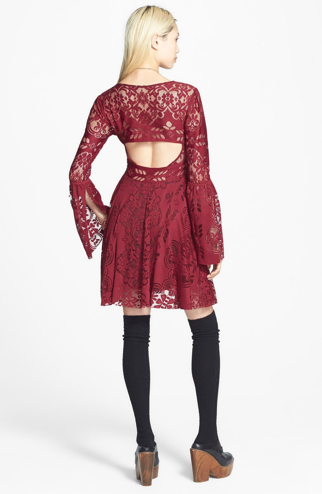 Alternate Image 2  - Free People 'Lace Lovers Folk Song' Bell Sleeve Cutout Skater Dress