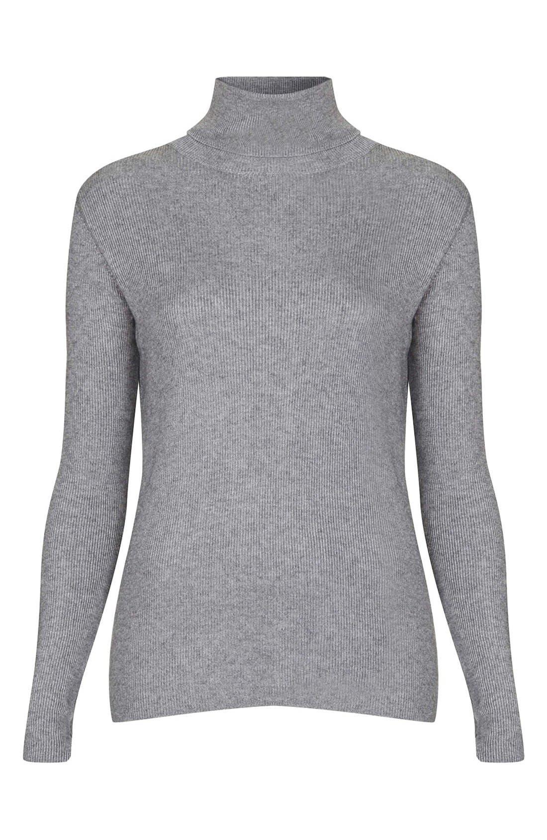 Alternate Image 1 Selected - Topshop Ribbed Turtleneck Sweater