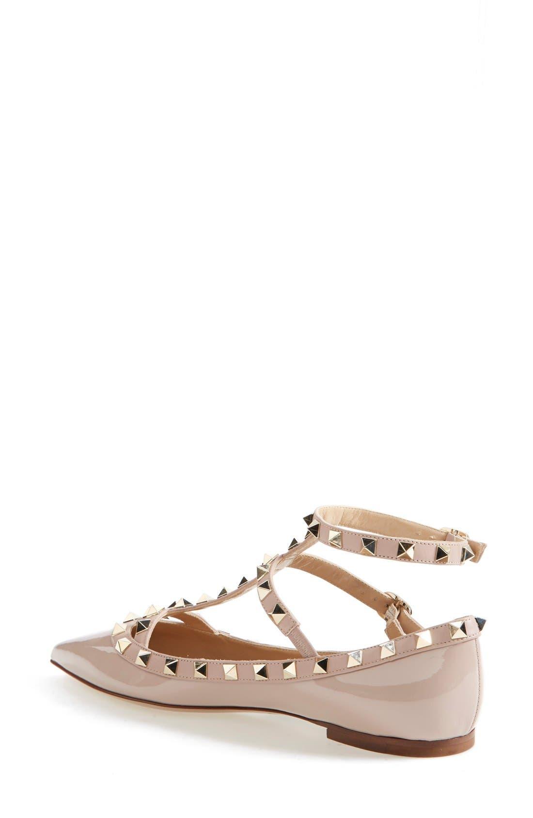 Alternate Image 2  - Valentino 'Rockstud' Patent Leather T-Strap Ballerina Flat (Women)