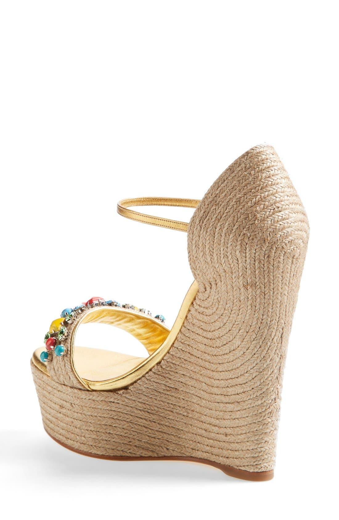 Alternate Image 2  - Gucci 'Carolina' Jeweled Wedge Sandal (Women)