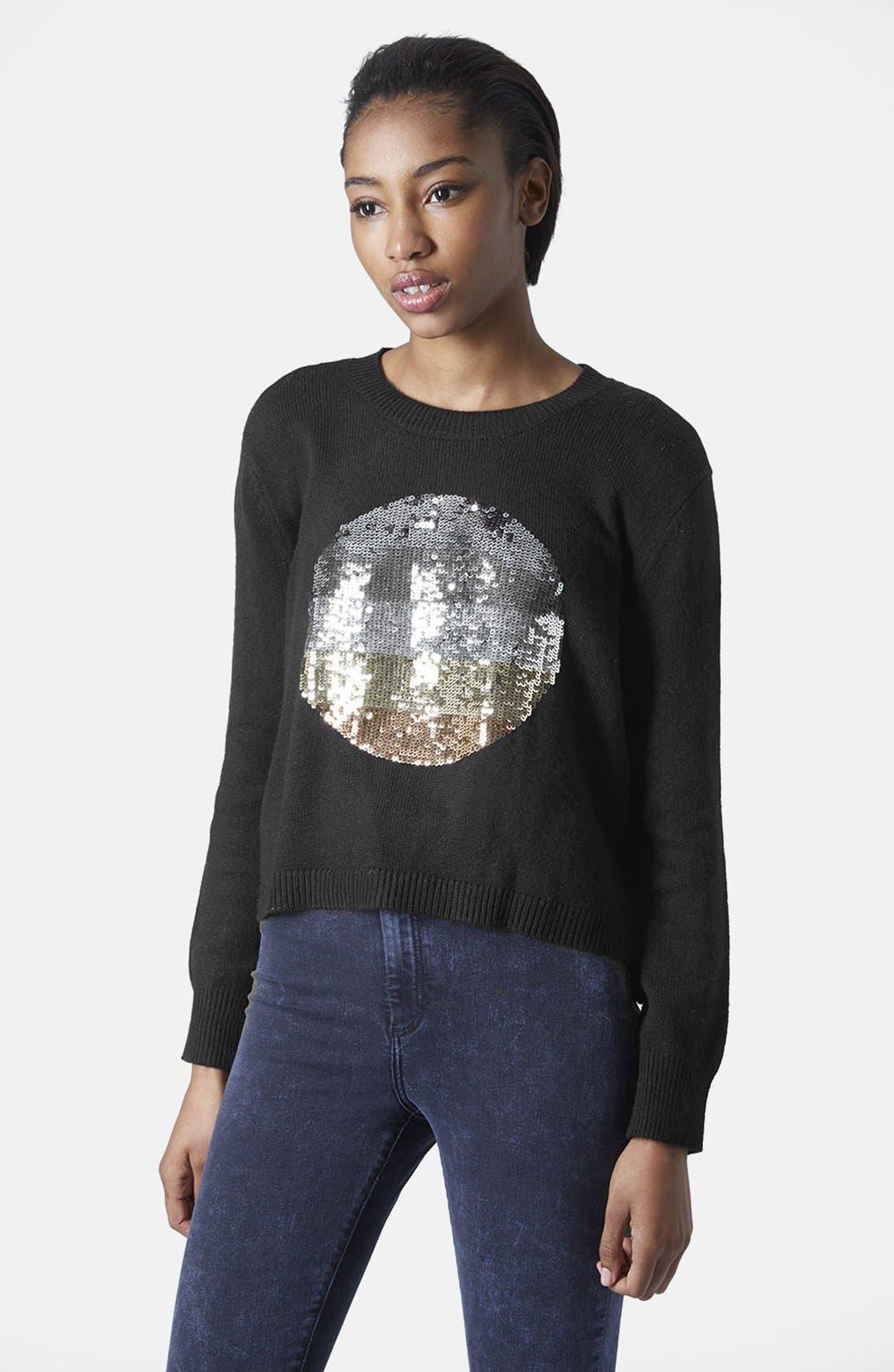 Main Image - Topshop Sequin Spot Sweater
