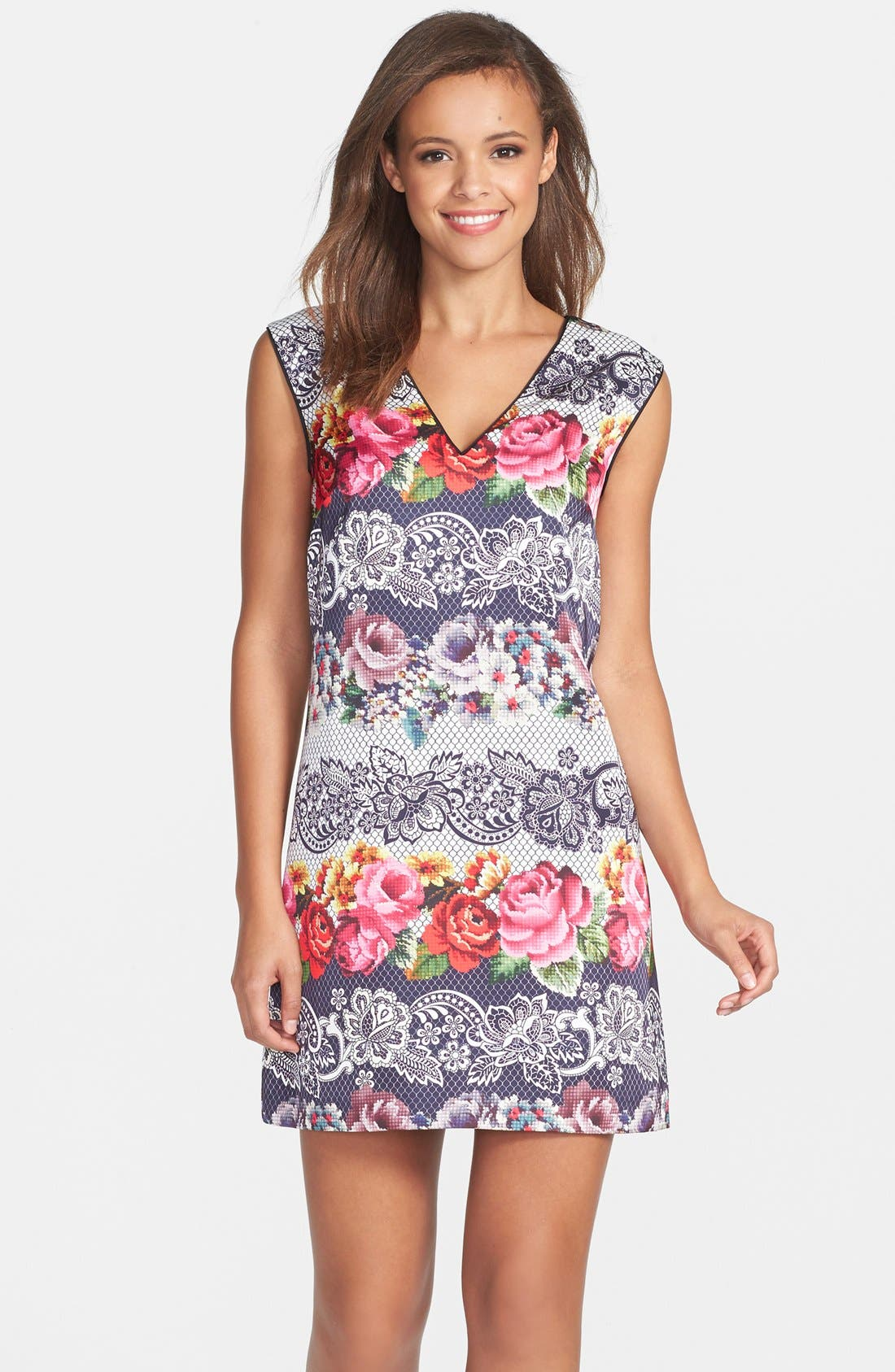Main Image - Cynthia Steffe Print Satin Shift Dress