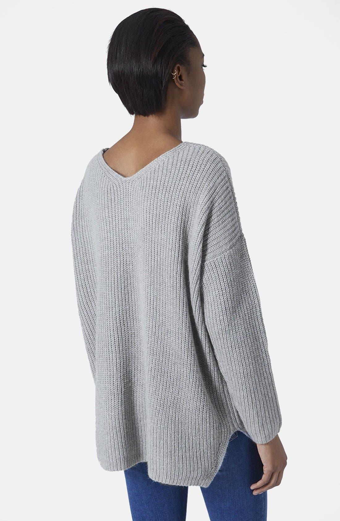 Alternate Image 3  - Topshop Double V-Neck Rib Sweater