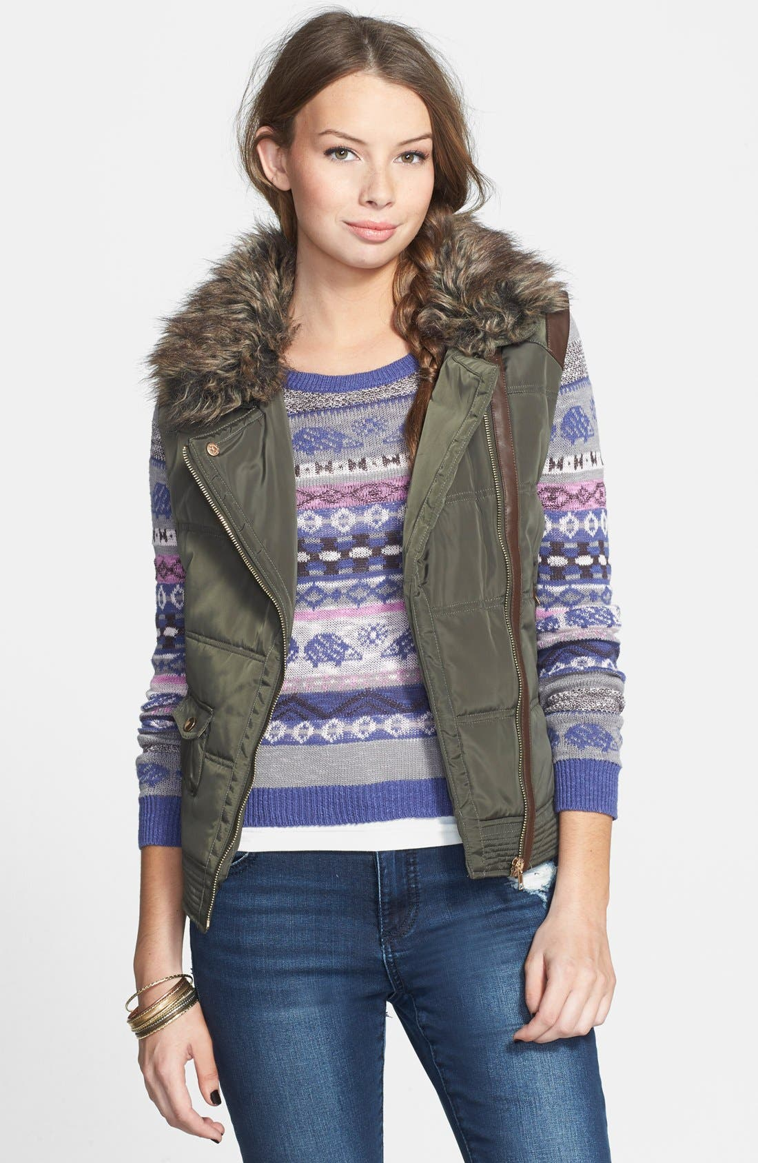 Main Image - Thread & Supply Quilted Moto Vest with Faux Fur Collar (Juniors)