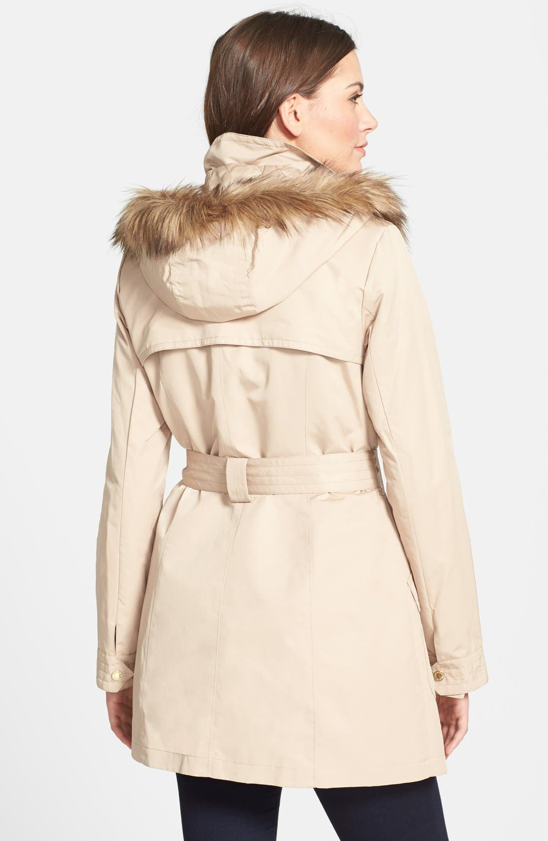 Alternate Image 2  - Ellen Tracy Belted Trench Coat with Detachable Faux Fur Trim Hood and Liner (Online Only)