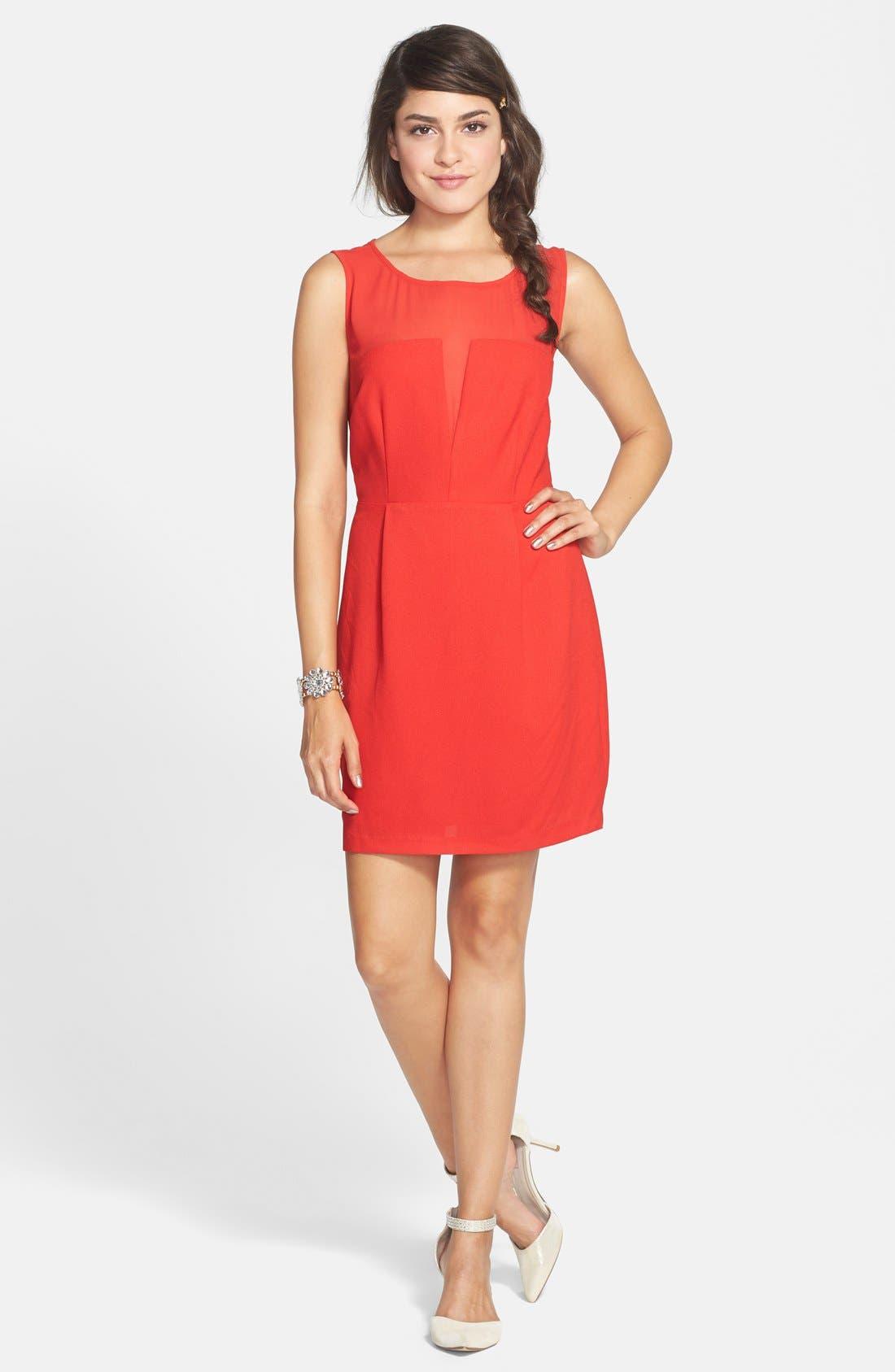 Main Image - En Crème Illusion A-Line Dress (Juniors)