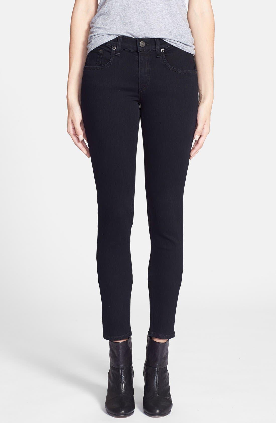 Alternate Image 1  - rag & bone/JEAN 'The Skinny' Stretch Jeans (Coal)
