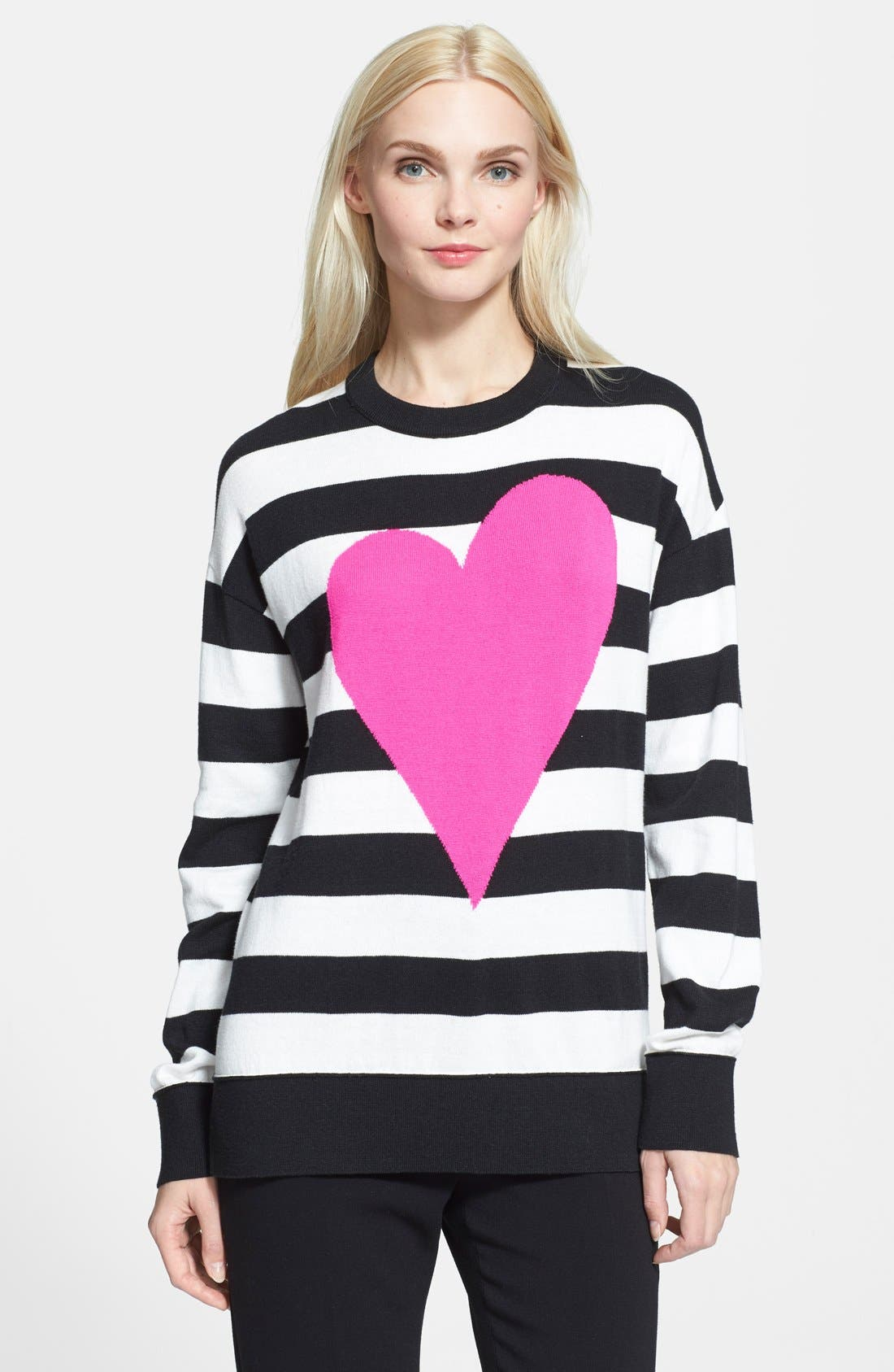 Main Image - kate spade new york heart stripe intarsia knit sweater