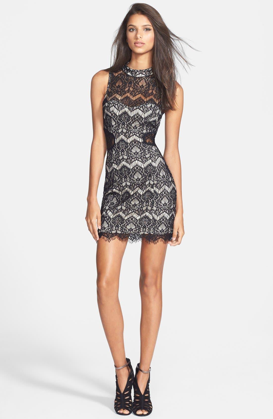 Main Image - Filtre Illusion Cutout Lace Body-Con Dress