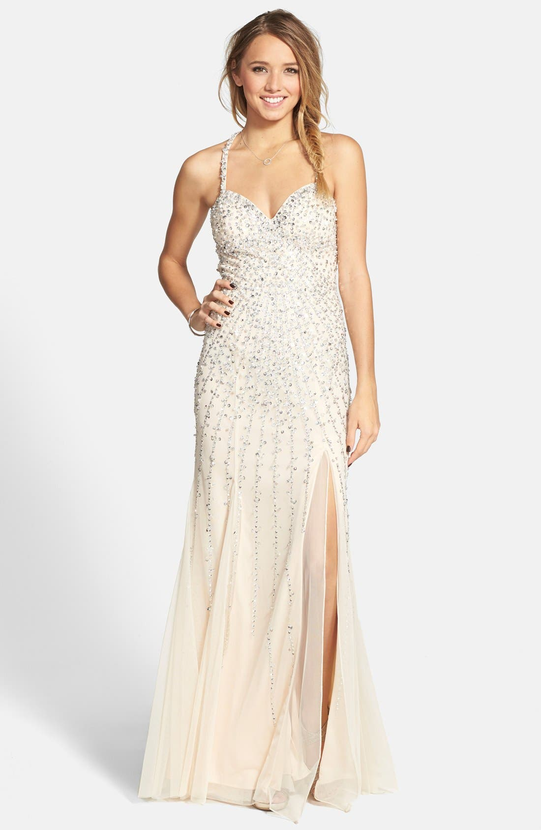 Main Image - Sean Collection Sequin Sweetheart Mesh Gown (Online Exclusive)