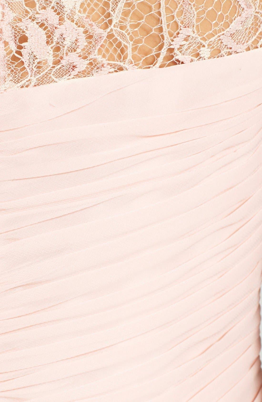 Alternate Image 3  - JS Boutique Lace Yoke Ruched Chiffon Gown