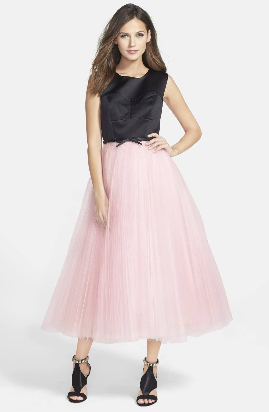 Main Image - Milly Tulle Skirt Fit & Flare Midi Dress