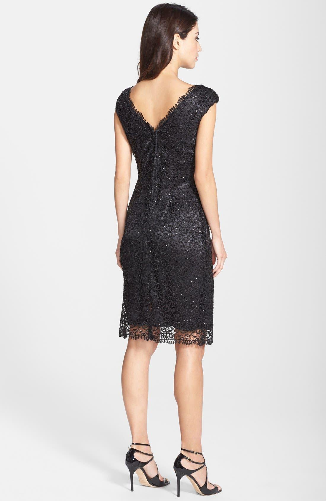 Alternate Image 2  - Marina Metallic Lace Sheath Dress