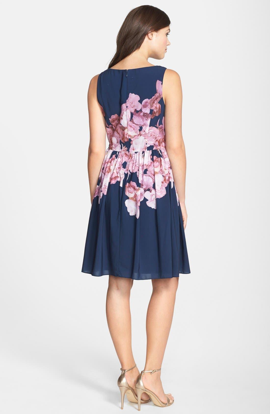 Alternate Image 2  - Adrianna Papell Floral Print Chiffon Fit & Flare Dress (Regular & Petite)