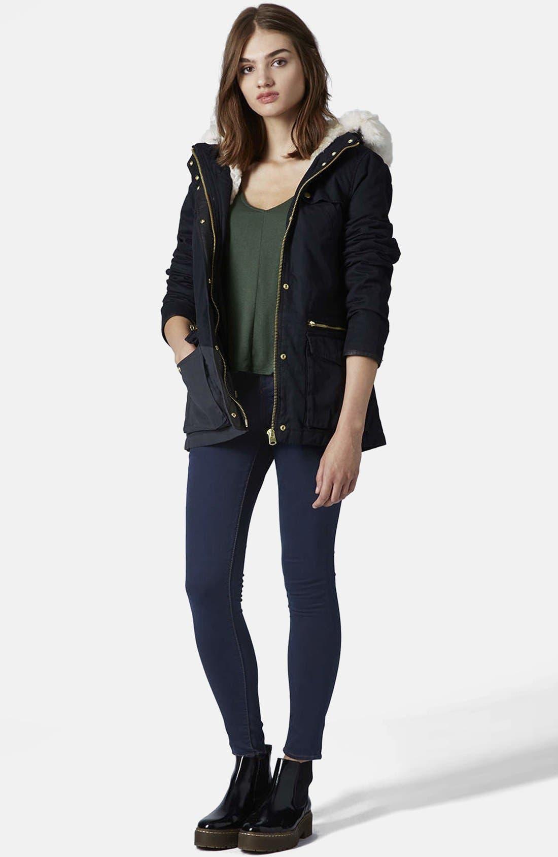 Alternate Image 5  - Topshop Moto 'Leigh' Skinny Jeans (Blue) (Regular & Short)
