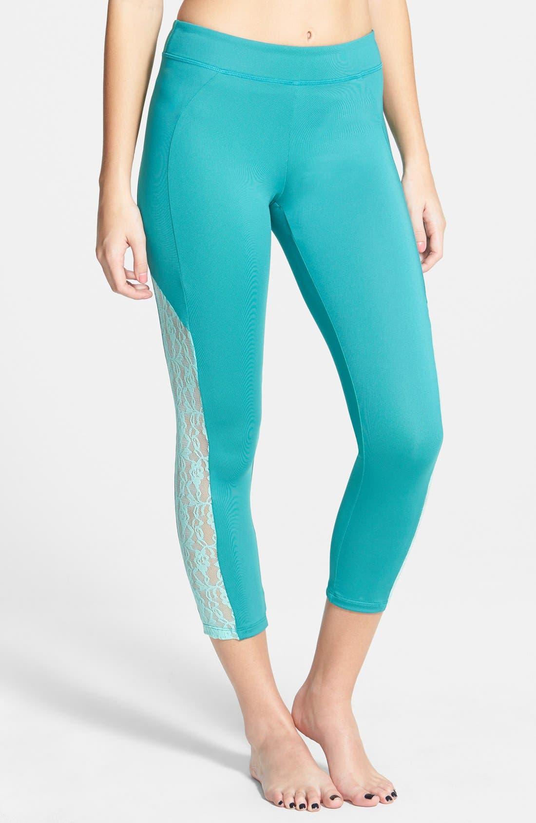 Main Image - BP. Sheer Lace Crop Leggings (Juniors)